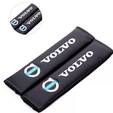 2 x Carbon Fibre Looking Logo Seatbelt Cover Pads for Volvo C30 V40 V60XC60 XC90