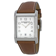 Baume et Mercier Hampton White Dial Brown Leather Mens Watch 10153