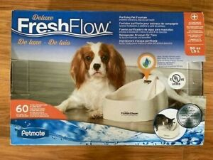Petmate Deluxe Fresh Flow 50 oz Purifying Fountain Water Bowl Dish Dog Cat 50