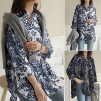 ZANZEA Womens Buttons Cotton Long Sleeve Down Floral Print Shirt Tops Blouse