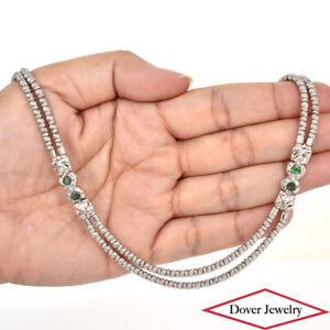 ZANCAN Diamond Emerald 18K Gold Elegant Double Strand Necklace 45.7 Grams NR