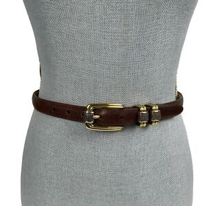 BRIGHTON CLASSIC Sz S 28 Brown Embossed Leather Belt Gold & Silver 2-Tone Buckle