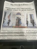 New York Times Newspaper January 21 2021 Biden Inauguration. Future Collectible!