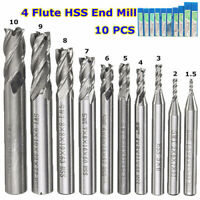 10pcs 1.5-10mm HSS 4 Flute End Mill Cutter Straight Shank CNC Drill Bit Set C#