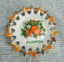 "Florida Oranges Old 1960's Japan Porcelain 7"" Lattice Edge Wall Plate FREE S/H"