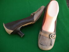 LADIES  COLORADO MULTI BROWNS LEATHER MID HEEL SHOES SIZE 7.5