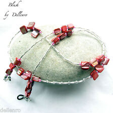 ✫BLUSH✫ PINK/RED SHELL BEADED EYEGLASS NECKLACE SPECTACLES CHAIN  HOLDER CORD