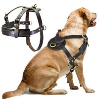 Large Leather Dog Harness Heavy Duty No Pull Weight Pulling Dog Harness Vest K9