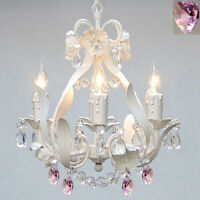 Wrought Iron Crystal Chandelier Pink Hearts Country French White ceiling fixture