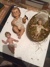 Gruppo Lotto Di 3 Bambinelli Bambino Gesù Da Culla O Presepe