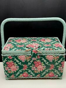 Vintage Sewing Knitting Basket Box Pink Flowers Teal Wicker Accents With Handle