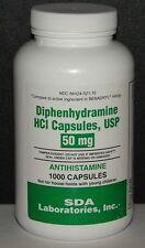 Diphenhydramine 50mg Capsules by SDA Labs (Sleep Aid & Antihistamine) 1000ct