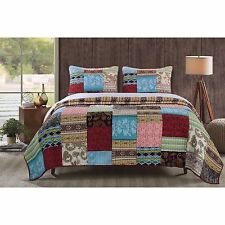Beautiful Cozy Country Patchwork Red Blue Brown Teal Grey Cabin Global Quilt Set