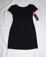 Dawn Joy Womens 3-4 Black Short Sleeve Dress Magenta Lining NWT C30 W28 H34 OL34