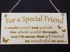 """""""For a Special Friend"""" Wooden Friendship Gift Sign Present love present plaque"""