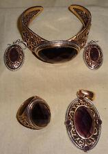 VTG Studio Barse .925 Sterling & Amethyst Set Pendant Bracelet Earrings Ring Set