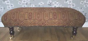 Footstool Stool In Laura Ashley Tamarind Burgandy Fabric