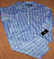 NWT Ralph Lauren Blue/RAINBOW STRIPES Cotton Sateen Pajama Shirt/Pants Set S