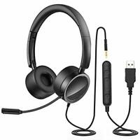 PC USB Headsets with Microphone Noise Cancelling 3.5mm Headphones Gaming