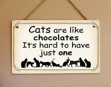 Shabby chic style metal hanging sign cats chocolate home decor wall door plaque