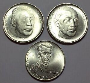 3 x SILVER CZECHOSLOVAKIAN COINS 50 & 100 KCS / KORUN XVF aUNC