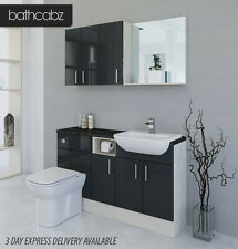 ANTHRACITE  / WHITE AVOLA BATHROOM FITTED FURNITURE 1400MM WITH WALL