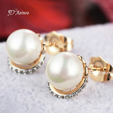 18K YELLOW WHITE GOLD FILLED CLEAR CRYSTAL PEARL STUD EARRINGS SMALL CUTE