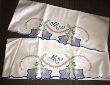 """Vintage Hand Embroidered White With """"Mr. And Mrs.� Large Pillow Cases 32� X 21�"""