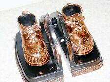Vintage Mid Century Copper Plated Metal Baby Shoes Nursery Bookends Book Ends