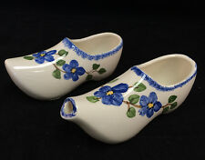 "Blue Floral Clog Shoe Sugar Bowl & Creamer 6"" Long"