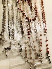 Wholesale Lots 12pcs Wooden Religious Rosary Necklace fast shipping