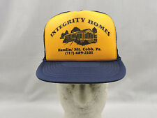 Vintage Trucker Hat Cap Blue Mesh Gold Imprint Integrity Homes One Size Snapback