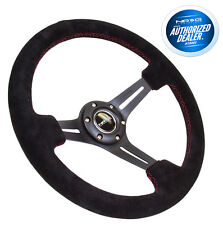 NRG Deep Dish Steering Wheel 350mm Black Suede with Red Stitching RST-018S