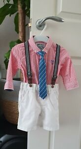 Next Baby Boy Smart Set Shorts Shirt and Braces 3-6 Months Perfect Condition