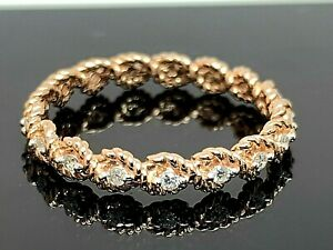 Eternity Band Diamond Ring 10k Rose Gold Rope 0.20ctw Women's Jewelry Size 7