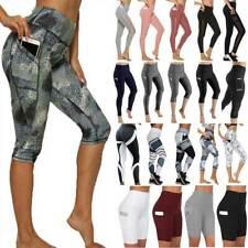 Womens Leggings Capri Yoga Pants Pocket Sport Fitness Running Workout Cropped G2