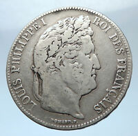 1837 FRANCE King Louis Philippe I French Antique Silver 5 Francs Coin i73914