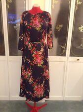 Vintage 1970's Navy Floral Print Long Sleeve Winter BoHo Maxi Dress