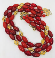 Beautiful Cherry Red Triple Strand Lucite Beaded Necklace Vintage Jewelry