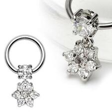 316L Surgical Steel Captive Bead Ring with Clear Jewelled Flower Dangle