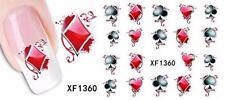 Aces & Corazón 3d Nail Art Sticker Calcomanía decoración Manicura de transferencia de agua