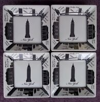 """222 Fifth City Block New York City NYC Appetizer Plates Square 5"""" Set of 4"""