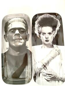 The Bride of Frankenstein and Frankenstein Appetizer Plates  World Market  2-Set