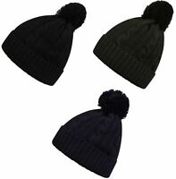 Pro Climate Waterproof Windproof 3M Thinsulate Cable Knit Beanie Hat & Pom Pom