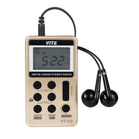 VITE 2-Band Radio FM/AM Radio Pocket Receiver w/ Rechargeable Battery & Earphone