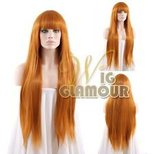 Long 70cm Straight Pumpkin Orange Fashion Hair Wig Heat Resistant