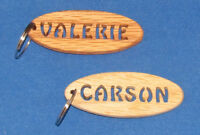 Personalized Hand Cut Oval Key Chain - Stencil - Women's