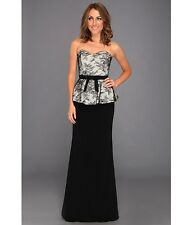 NWT $685 Badgley Mischka evening social Black white lace peplum dress gown 16