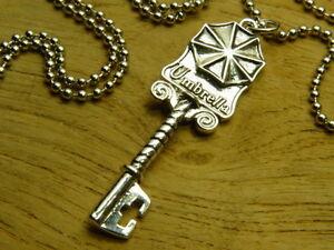 Resident Evil Biohazard Umbrella Silver Key Necklace