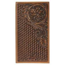Justin Western Mens Wallet Rodeo Leather Tooled Weave Floral Brown 1920566W1